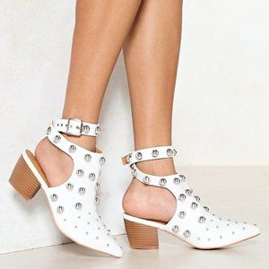 Nasty Gal White Studded Booties